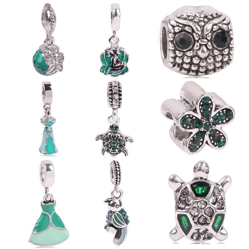 AIFEILI Rhinestone Princess Heart Camera Charms European Fashion DIY Beads Silver Color Bead Fit Pandora Bracelets & Necklace