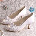 Wedopus Пользовательские Ручной Белого Атласа Женские Летние Свадебная Обувь Среднего Пятки Свадьба Насосы