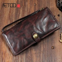 AETOO Original retro buckle leather long wallet men First layer leather wrinkle multi-card full leather long wallet aetoo original handmade wallet men retro patchwork wallet first layer of leather clever long paragraph zipper female men vintage