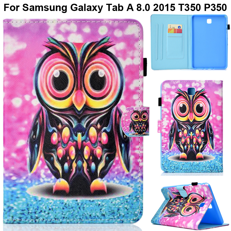 SM-T350 T355 SM-P350 P355 Cute Cover Stand Shell For Samsung Galaxy Tab A 8.0 2015 Lovely Tree Flower Owl Butterfly Print Case