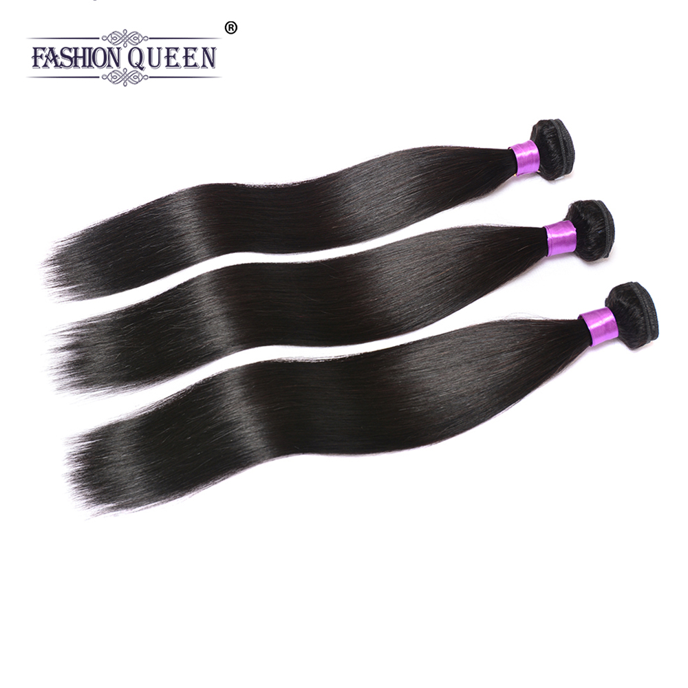 Fashion Queen Hair Straight Hair Bundles 3 Pieces 100% Human Hair Weave Bundles 100g/pc Non Remy Human Hair Weaving Extensions