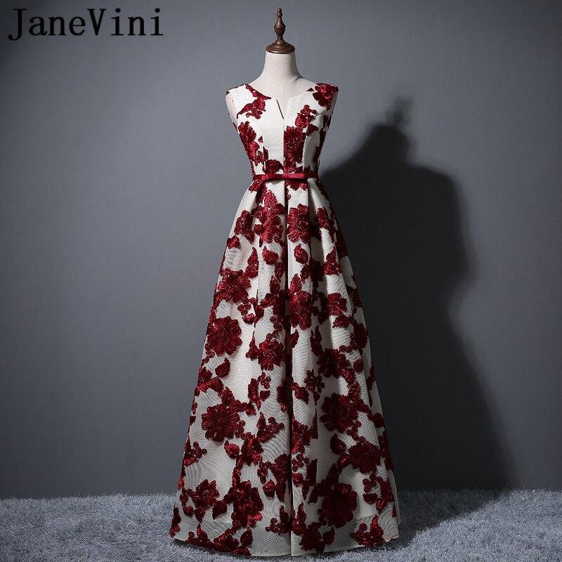 JaneVini ארוך תחרה צווארון V האלגנטית שמלות השושבינות אחיות נשים המפלגה שמלות כלה קשת בצבע בורדו רשמיים לנשף שמלות 2018