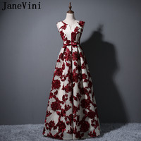 JaneVini Elegant V Neck Lace Long Bridesmaids Dresses Sisters Women Wedding Party Dress Burgundy Bow Formal Prom Gowns 2018