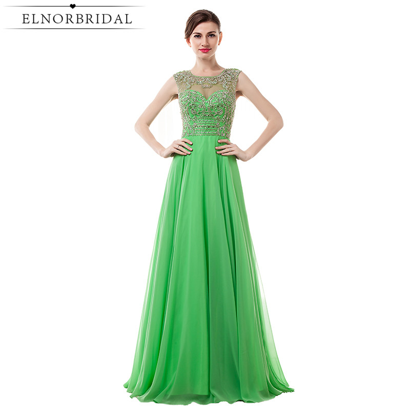 Lime Green Prom Dresses Long 2017 Modest Vestido Formatura Sheer Beading Chiffon Special Occasion Formal Evening Gowns