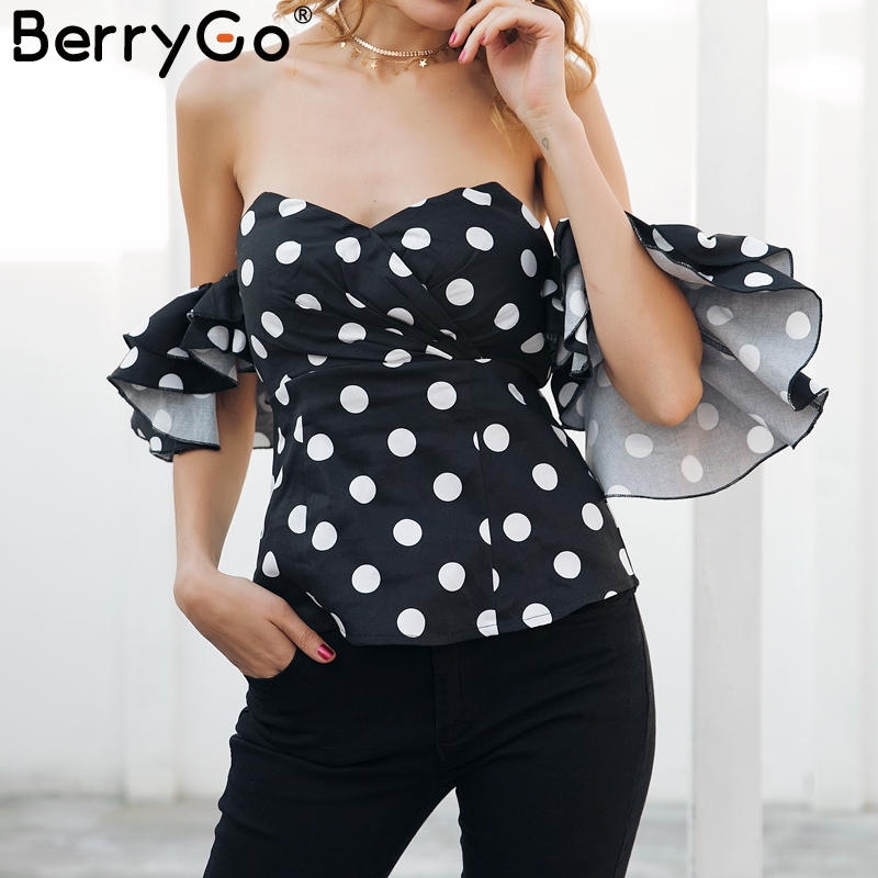 eccdd3a3ae1 BerryGo Off shoulder ruffle polka dot blouse shirt Sexy butterfly sleeve  backless black blouse 2018 Summer blouse women top-in Blouses   Shirts from  Women s ...