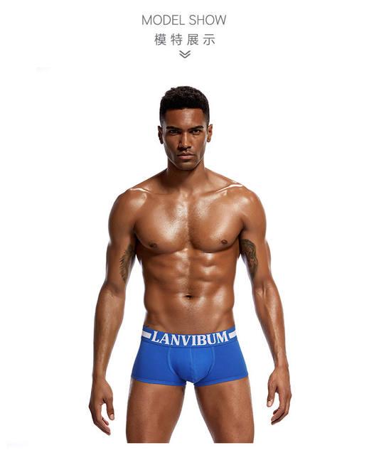 Cotton men's boxers, mid – waist underwear, big bag U convex design, boxers