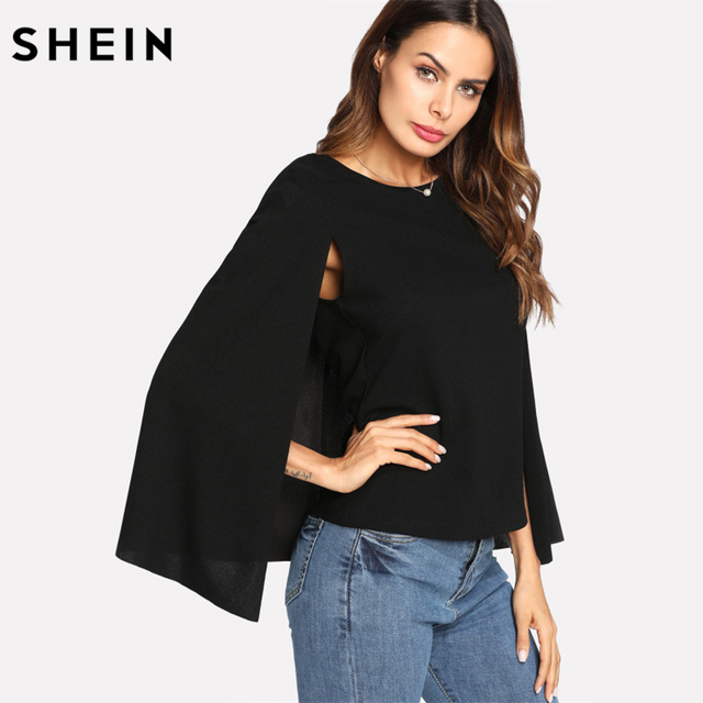 e84c821372100 SHEIN Womens Tops and Blouses Ladies Black Keyhole Back Cloak Sleeve Blouse Party  Wear Round Neck