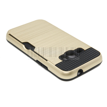 Anti-shock Protective Dual Layer Rubber Brush Armor Card holder Case Cover With Films+Stylus For Samsung Galaxy Amp 2
