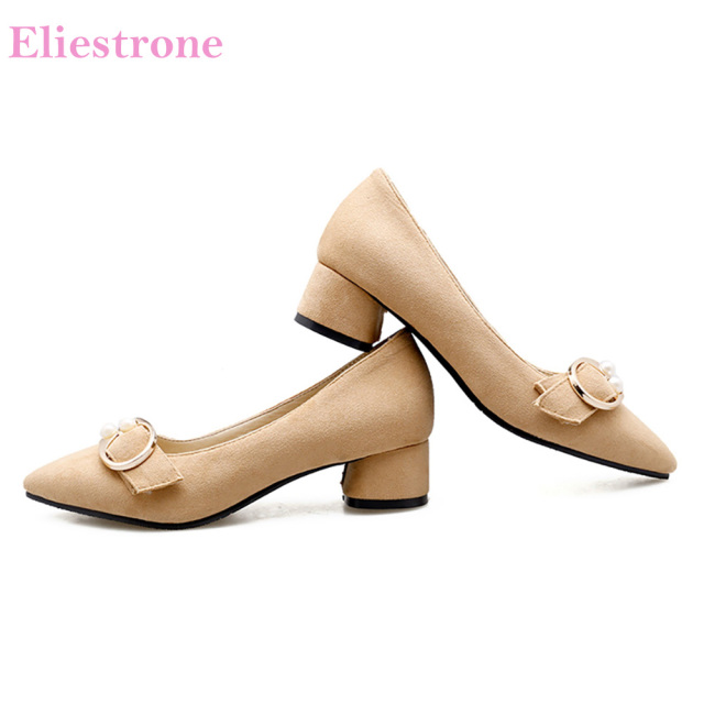 6c1d192b49d Brand New Quality Apricot Pink Women Formal Office Pumps Lady Nude Shoes Chunky  Heels BK870 Plus Big Small Size 10 31 43 46