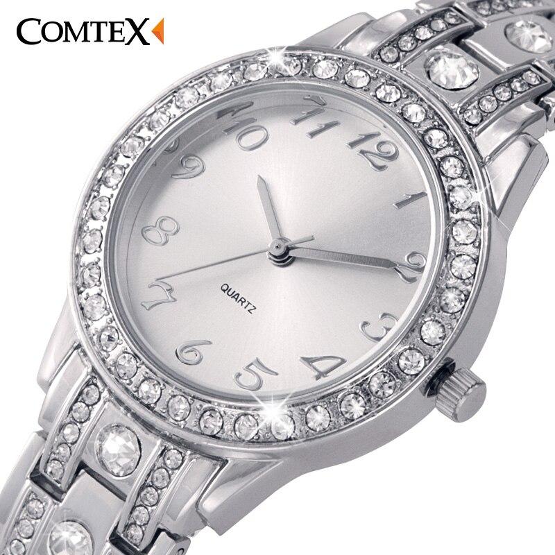 ФОТО 2017 Fashion Luxury ladies wrist watch Round women watch Silver quartz wristwatches bling bling crystal watch women dress clock