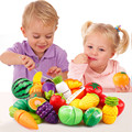 Kids Pretend Play Toys Plastic kitchen Toys Cute Plastic Fruit Vegetables Toy Baby Simulation Food For Kids Gifts GW02