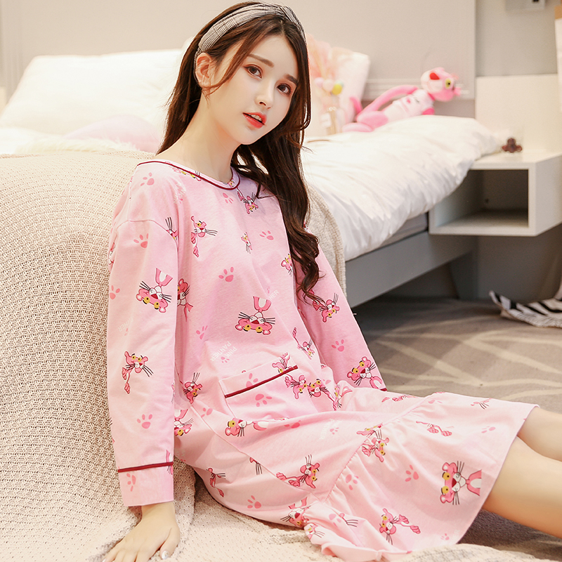 New Spring and autumn Fashion Women Nightgowns long sleeve Cotton Dress  Cute Girls Sleepwear warm Nightdress Indoor Clothing-in Nightgowns    Sleepshirts ... e50bff4f0