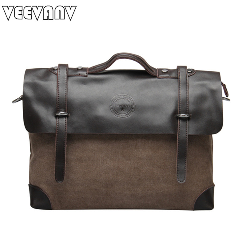 VEEVANV Vintage men's messenger bags 2017 new shoulder canvas crossbody bags briefcase handbags for man tote men's travel bags аксессуар чехол sony xperia z5 premium brosco black z5p slimflip black