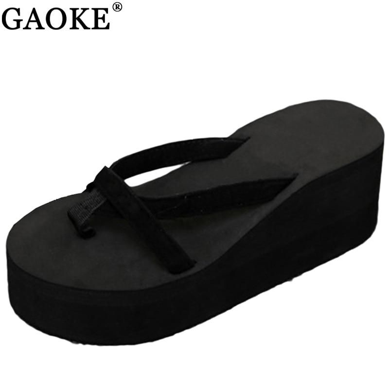 2018 летние Сандалии для девочек клинья Для женщин Шлепанцы, сандалии-вьетнамки, пляжные сандалии, обувь Модные повседневные женские сандалии Дамская обувь