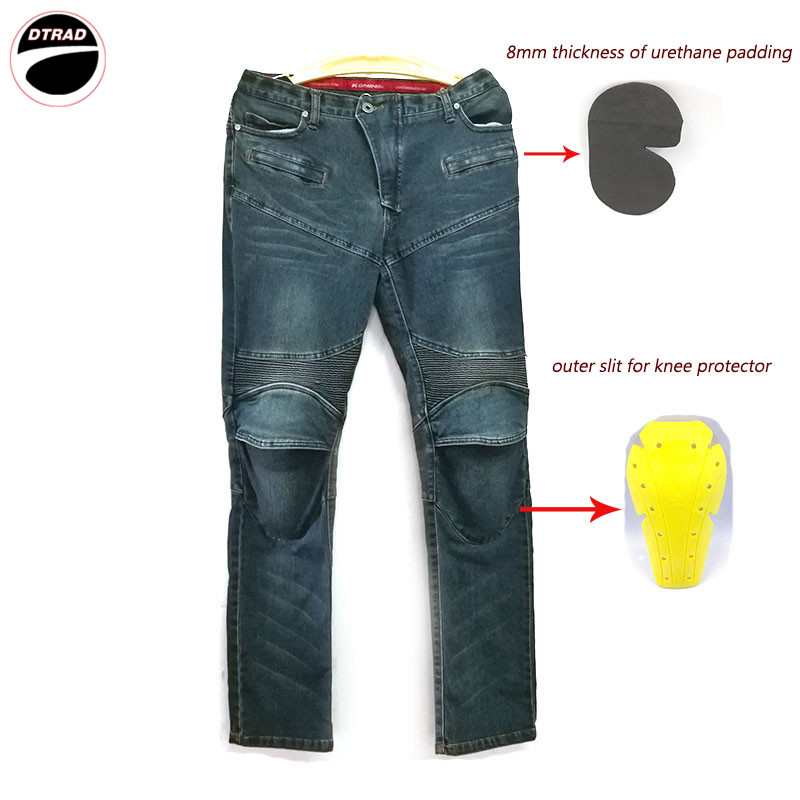 Windproof Motorcycle Racing Jeans Casual Pants Men's Motorbike Motocross Off-Road Knee Protective Moto Jeans Trousers