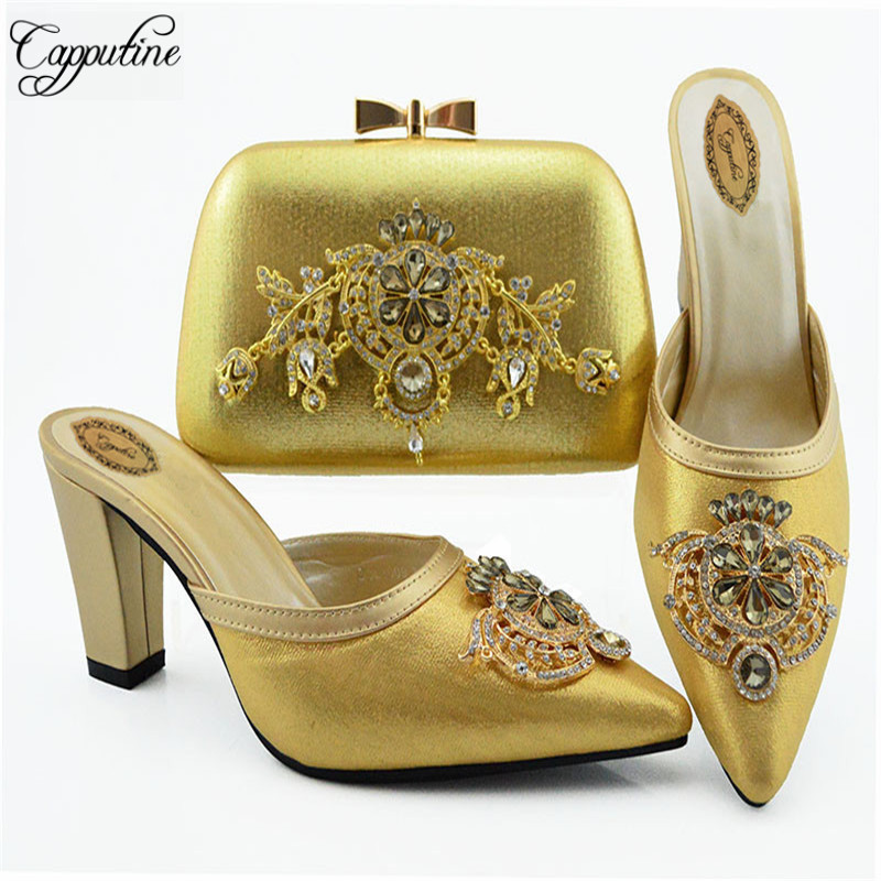 Africa Style Gold Color Ladies Crystal Shoes And Bag Set Italian Fashion High Heels Shoes And Bag Set For Party SL009Africa Style Gold Color Ladies Crystal Shoes And Bag Set Italian Fashion High Heels Shoes And Bag Set For Party SL009