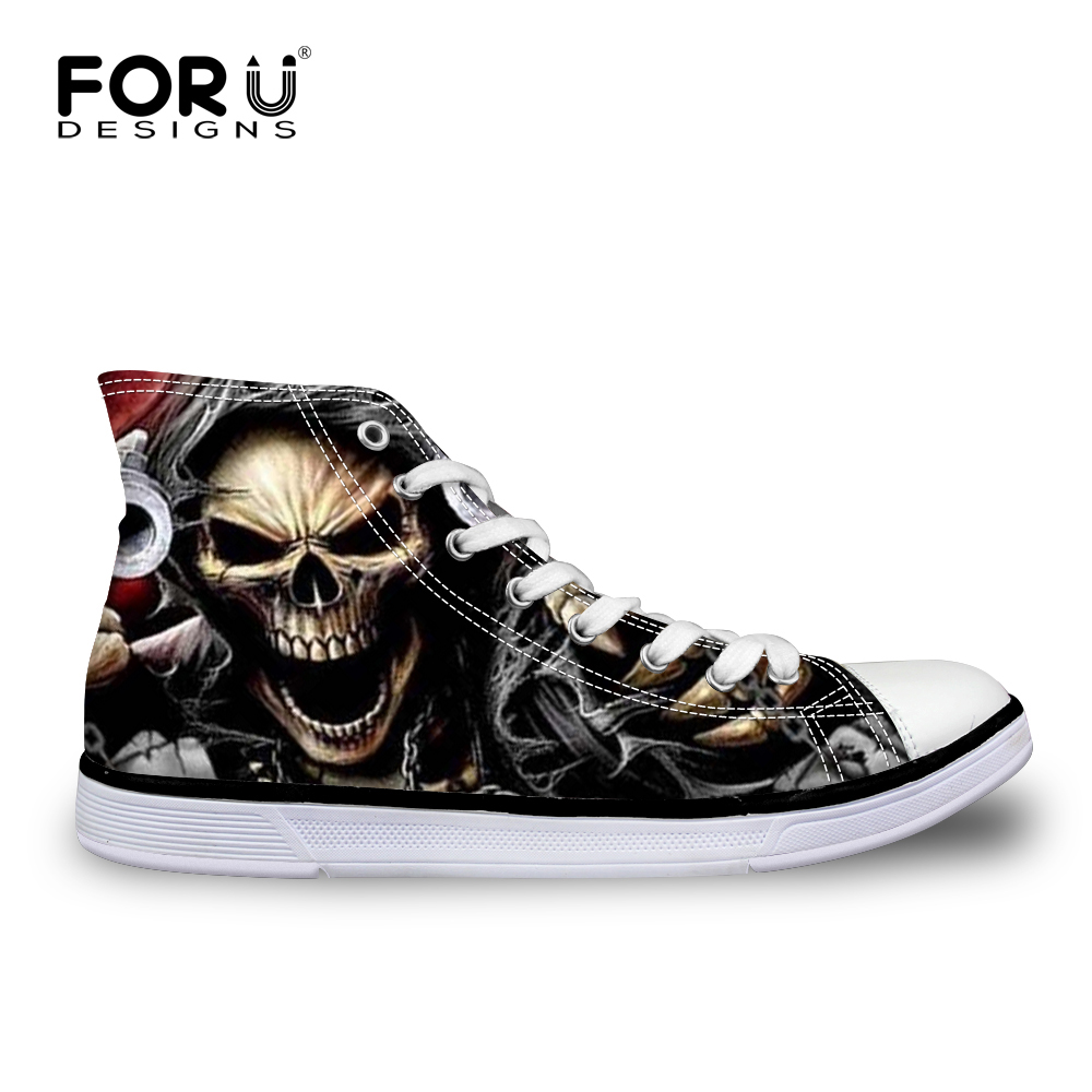 FORUDESIGNS Classic Men's Punk Rock Skull Style High-top Vulcanize Shoes Casual Lace-up Canvas Shoes for Men Students Flat Shoes цена 2017