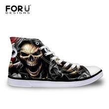 FORUDESIGNS Classic Men's Punk Rock Skull Style High-top Vulcanize Shoes Casual Lace-up Canvas Shoes for Men Students Flat Shoes