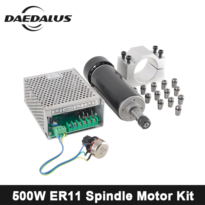 CNC Wood Router 500W Air Cooled Spindle Motor Adjustable Power Supply 52MM Clamp ER11 Collet Chuck For Engraver Milling Machine диск x