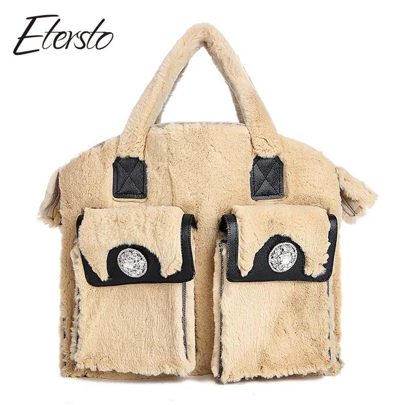 Etersto 2017 New Arrival Real Fur Handbgs Rex Rabbit Fur Women Really Fur Messenger Bag Solid Big Handbag Fashion Crossbody Bags