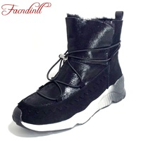 FACNDINLL Brand Design Shoes Women Ankle Boots Solid Soft Bottom Women Wedge Boots Round Toe Flat
