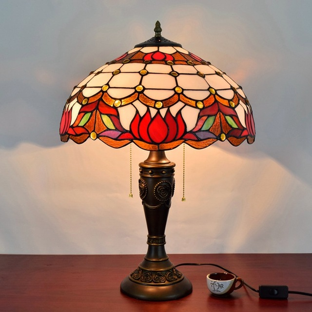 Charmant 16 Inch Baroque Stained Glass Lampshade Tiffany Table Lamp Country Style  Bedside Lamp E27 110