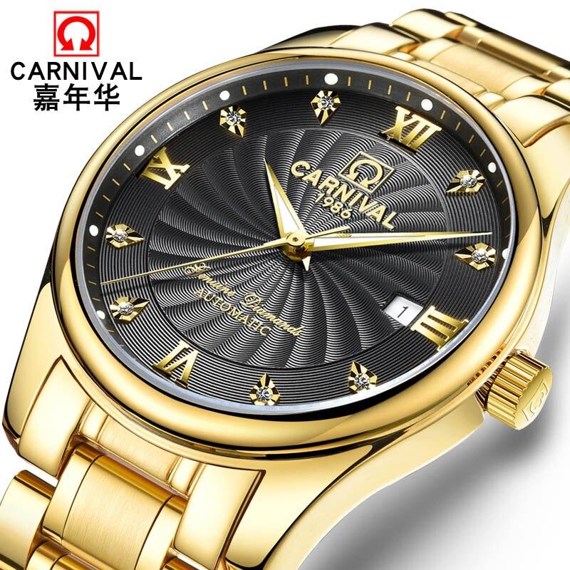 цена на New Luxury Business Casual Watch men Watches Top brand CARNIVAL Auto mechanical Watches Sapphire Waterproof Calendar HD Luminous