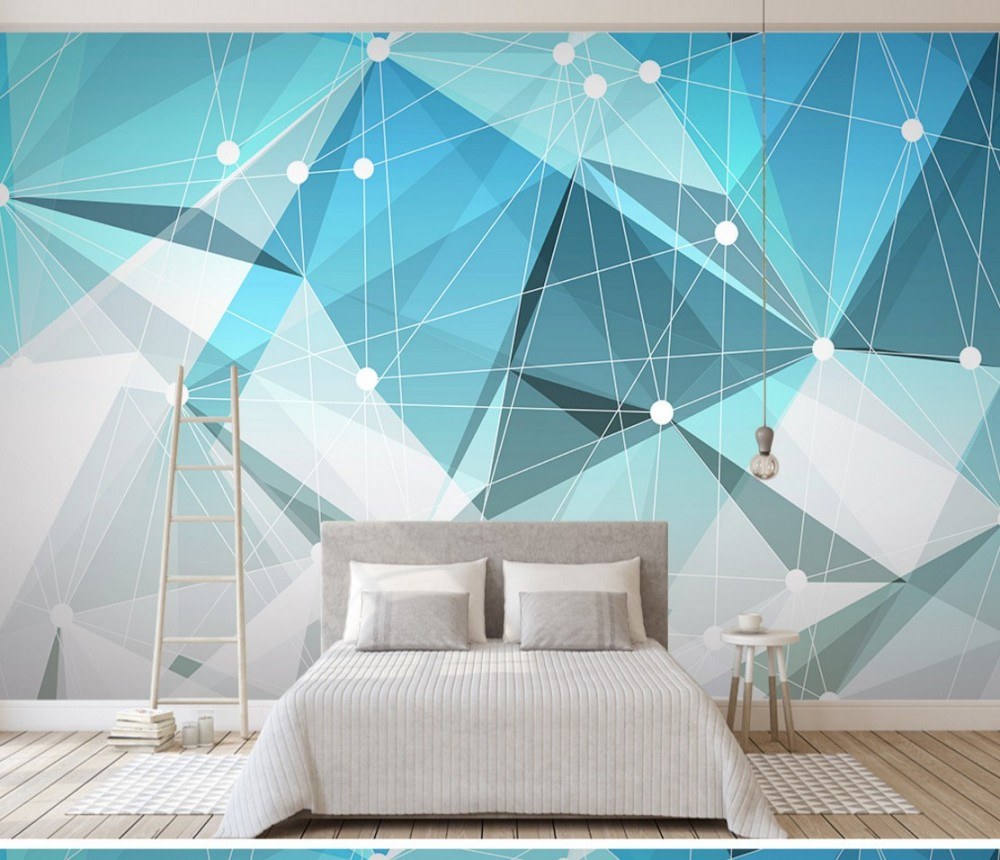Free Shipping 3D Abstract Geometrical Living Room TV Background Wall Image Bedroom Wallpaper Custom Mural Buy Wallpaper Online image
