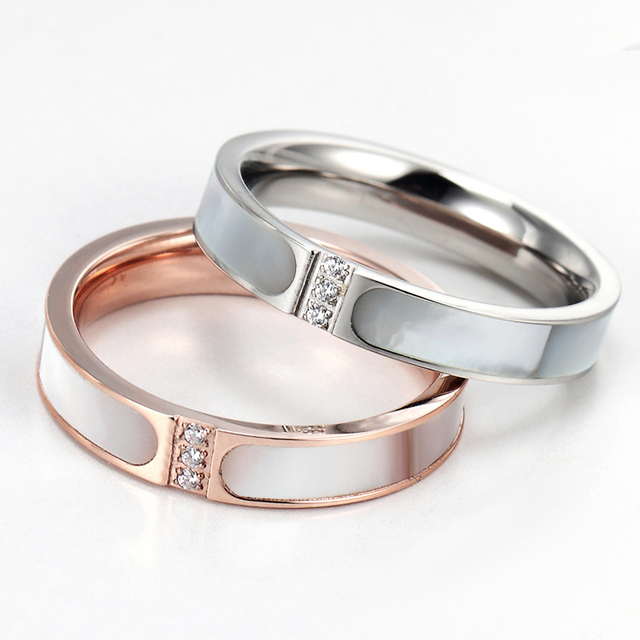 New Style Top Quality Two Colors Inlaid Shells And Crystal Ring Brand Women Wedding Rings Luxury