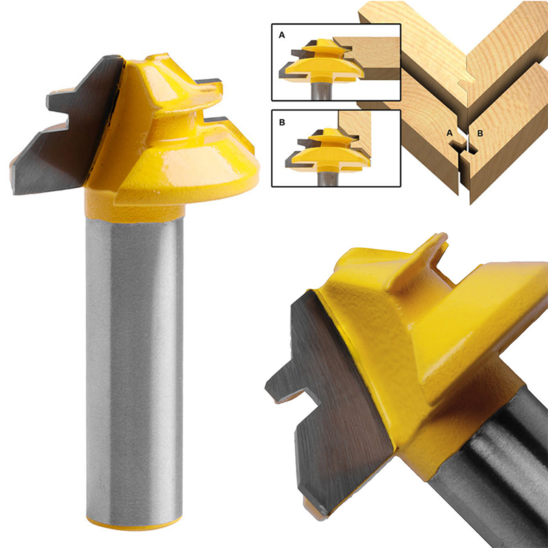 1pc High Quality 1/2 Inch Shank 45 Degree Router Bit Lock Stile & Rail Steel Cutter For Woodworking Tools 2pcs high quality 1 2 inch shank rail