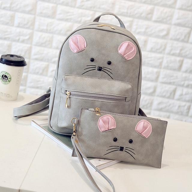 2 Bag/Set Cute Women Backpacks 2016 Rivet Girls Backpacks Student Schoolbag Girls Bags Fashion Travel Backpack 1537