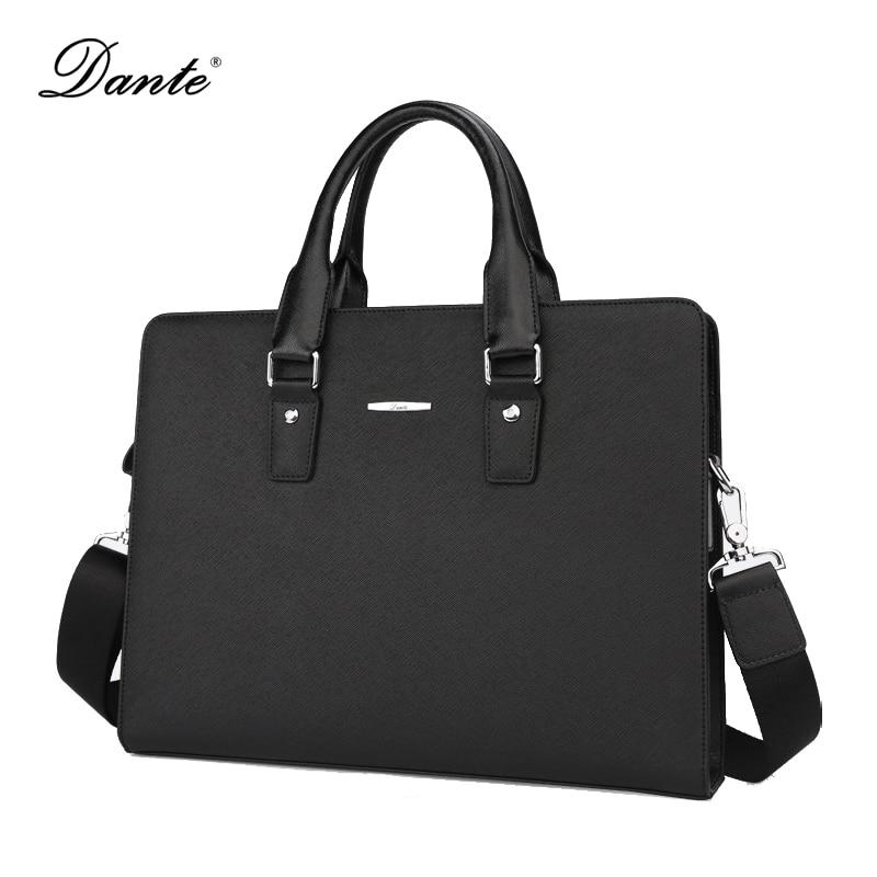 DANTE Genuine Leather Briefcases Men Messenger Bags Business Mens Document Laptop Bag Briefcase A212 redfox сумка full size business messenger 1000 черный
