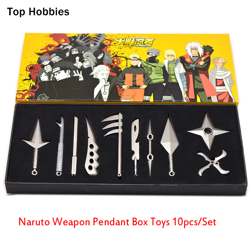 Mini Naruto Weapon Pendant Box Toys 10pcs/Set Metal Toy Sword Naruto Kunai Knife Throwing Set Ninja Knife Naruto Cosplay Weapons