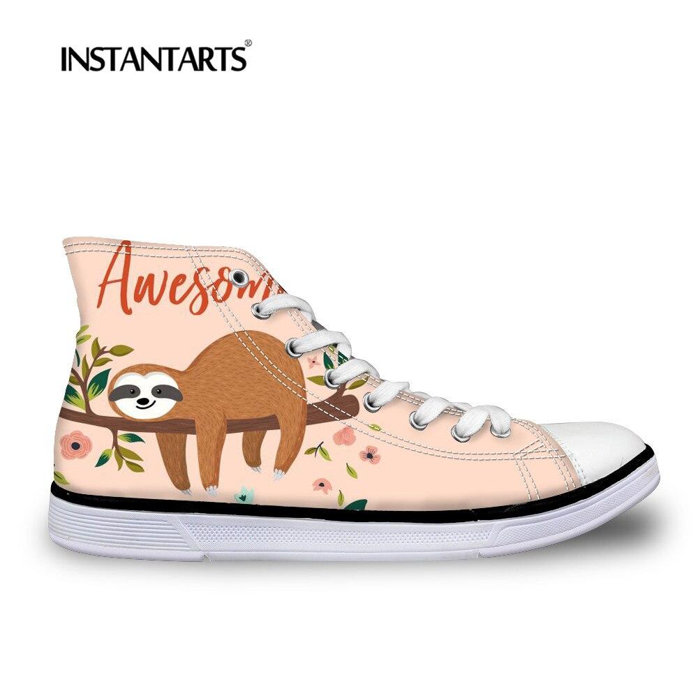 INSTNTARTS Frauen Klassische High-top Schuhe Mode Außerhalb Casual Leinwand Schuhe Cartoon Sloth Druck High-top Vulkanisieren Wohnungen schuhe