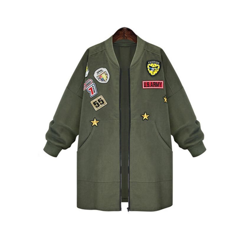 Lettera Mid Autunno Allentato Outwear Tasche Signore Manica Stelle Delle Trench Donne Wz133 Cappotti Più Dell'esercito Xl verde Il 5xl Lunga Stampa Modo Formato Nero lungo Uxqqf0TP