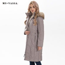MS VASSA Mùa Đông Parkas Nữ 2019 Thời Trang Mới Thu Đông nữ dài áo có thể tháo rời Hood với Lông Thú Giả Plus kích thước 7XL áo khoác ngoài