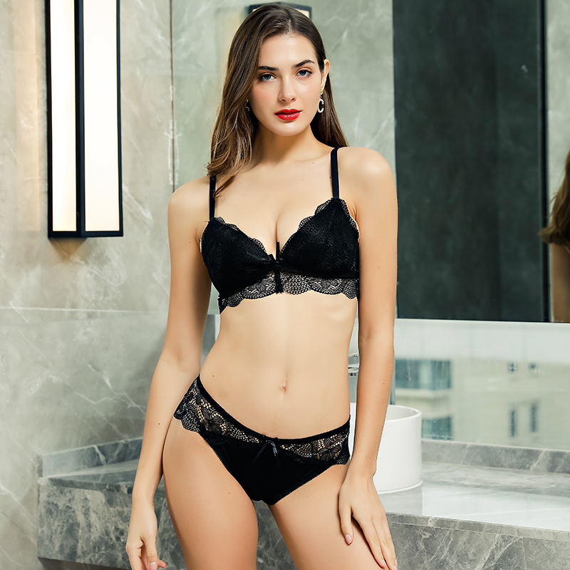Hollow Out Push Up Brassiere Lace   Bra     Set   Bow Design Panties Padded   Brief     Sets   Wireless Transparent Underwear Suit