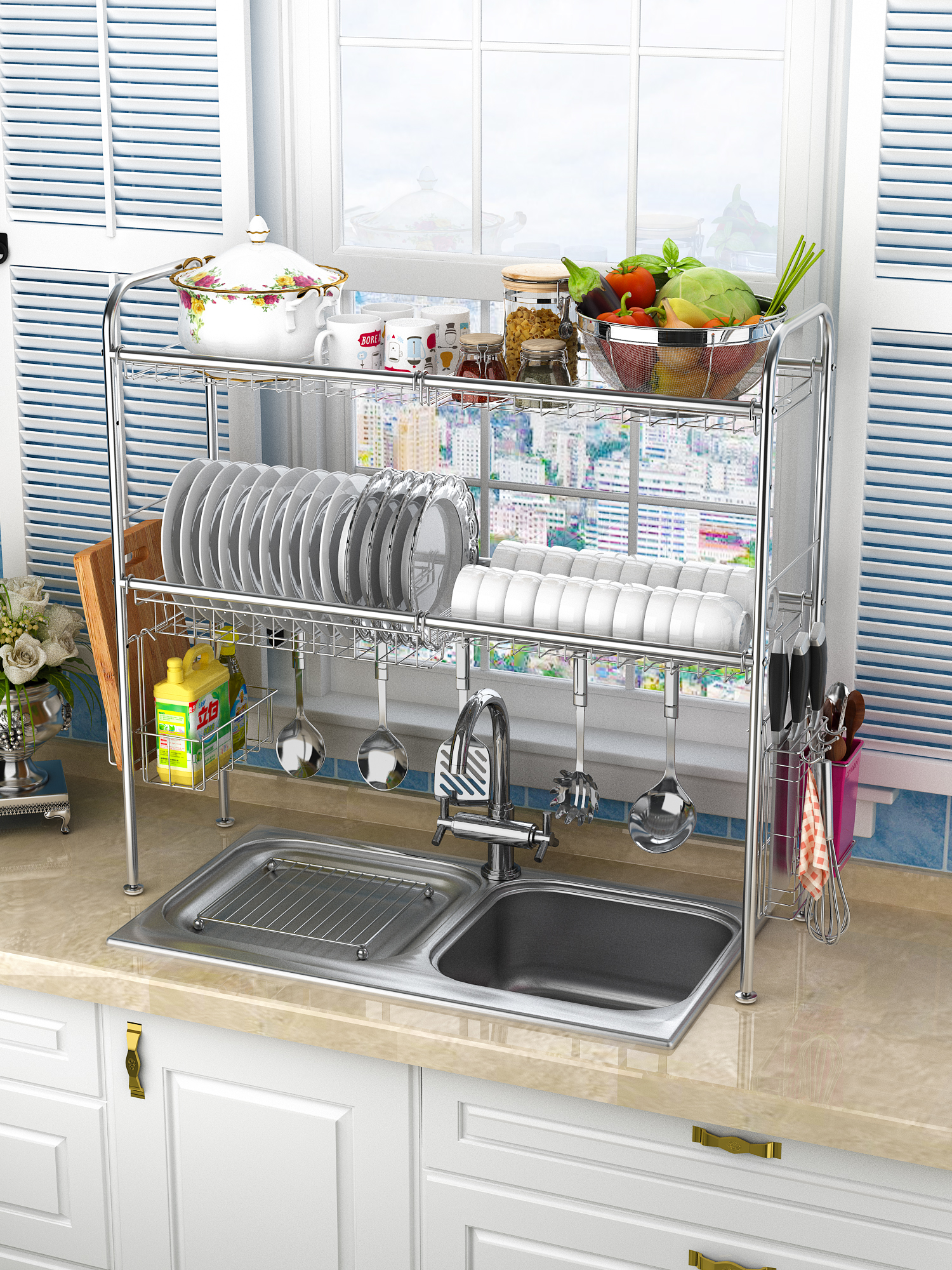 304 Stainless Steel Bowl Rack Sink Drainage Rack Kitchen
