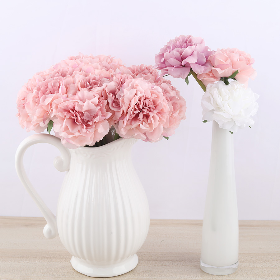 2pcs Peony Silk Artificial White Flowers Bouquet Decoration For Bride Wedding Table Pink Flowers Fake Hydrangea Cheap Flower Leather Bag