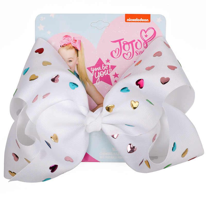 Вечерние банты из полиэстера для девочек 8 дюймов, рождественские банты для волос на день рождения для девочек с зажимами и бантом ручной работы