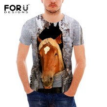 FORUDESIGNS Wholesale Men Tops T-shirt 3D Cool Horse Summer Short Sleeved Casual Shirt For Female Slim Bodybuilding Clothes
