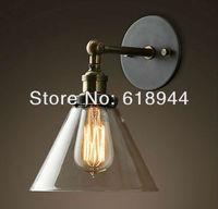 Groothandel Vintage Antiek Glas Wandlampen met Edison Gloeilamp voor badkamer indoor E27 110 V 240 V muur licht home verlichting wall lamp glass wall lampantique wall lamp -