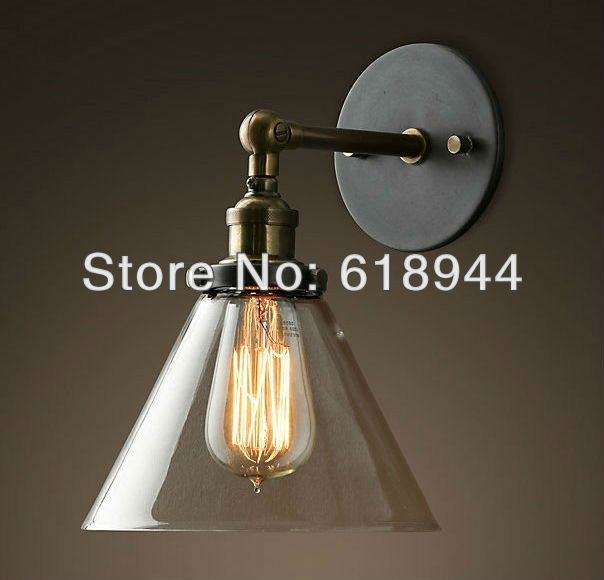 ФОТО Wholesale Vintage Antique Glass Wall Lamps with Edison Light Bulb for bathroom, indoor, outdoor 110V-240V