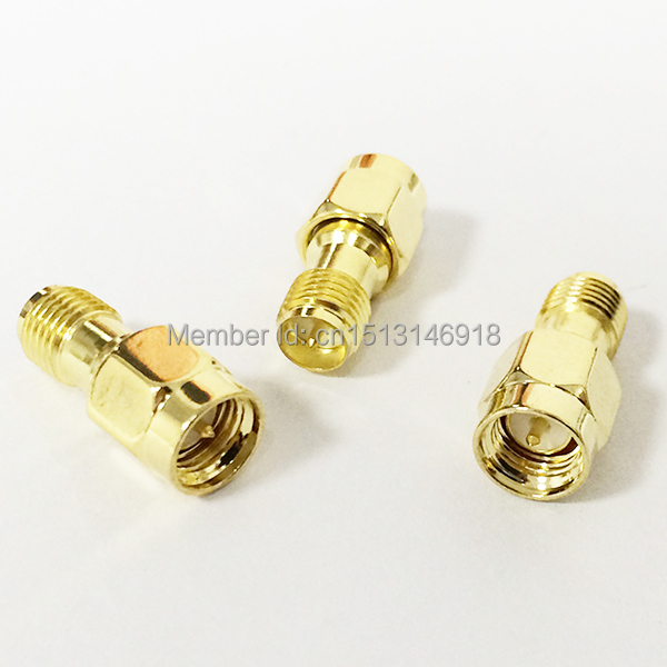 1pc SMA  Male Plug to RP-SMA  Female Jack  RF Coax Adapter convertor  Straight  goldplated NEW wholesale 1pc adapter n plug male nickel plating to sma female gold plating jack rf connector straight