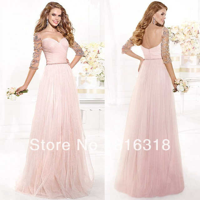 Vestidos Formales Sexy Long Pink Prom Dress Sexy Modest Prom Dresses With Sleeves  Floor Length Gown Vestido De Festa Longo ab8e4e7d0692