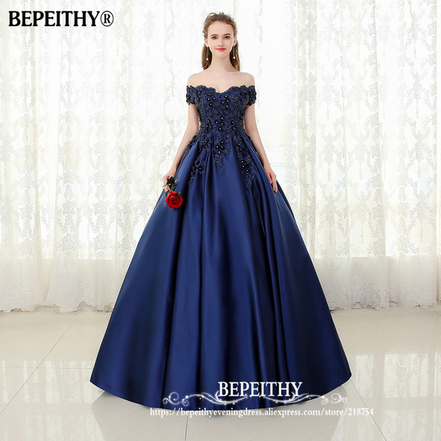 BEPEITHY V-neck Navy Blue Long Evening Dress Lace Beaded Vintage Prom Gowns Vestido De Festa Off The Shoulder Cheap Evening Gown 2