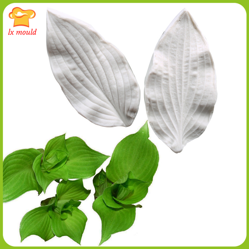 2017 new Hosta flower leaves flower silicone mold cake chocolate mold flower petals calyx lines mold sugar tools