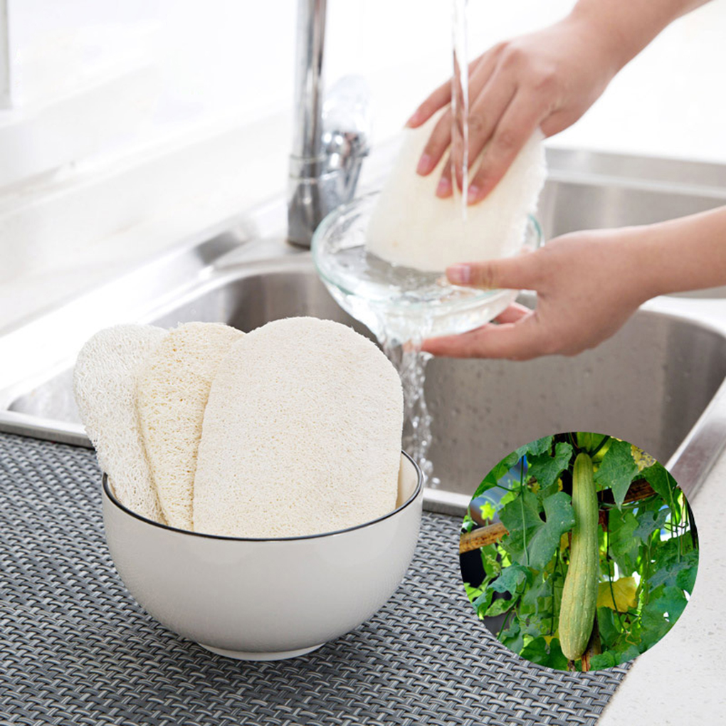New Natural Loofah Dishwashing Cloth Kitchen Non-stick Oil Brush Pot Double-sided Cleaning Microfibre Sponge Eco-Friendly