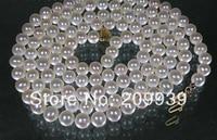 Бесплатная доставка Лидер Продаж Благородный >>>@@ 35 из натуральной 7 7.5 мм AAA + Круглый Akoya моря жемчужное ожерелье желтый