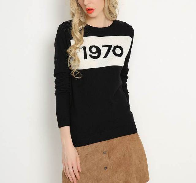 1970 letter pullover jumper sweater high quality women autumn winter fashion wool sweater